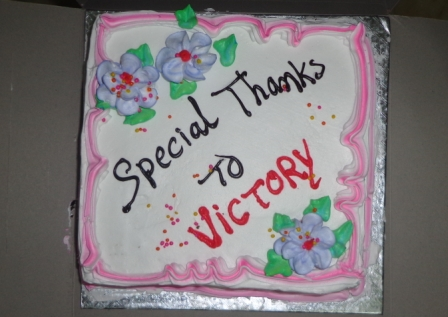 Victory spoken english SPECIAL THANKS CAKE